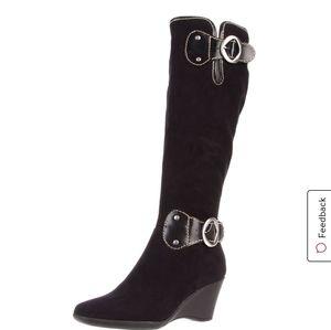 Aerosoles Suede Adjustable Calf Boots Size 12